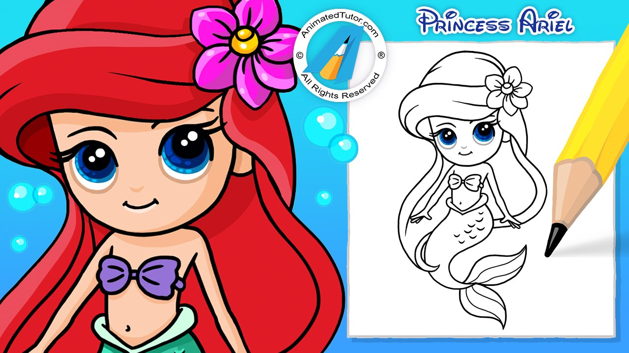 draw cute mermaid ariel the little mermaid chibi kawaii