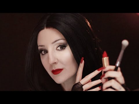 Morticia Addams Does Your Makeup for the Charity Auction (ASMR RP + long nail tapping)