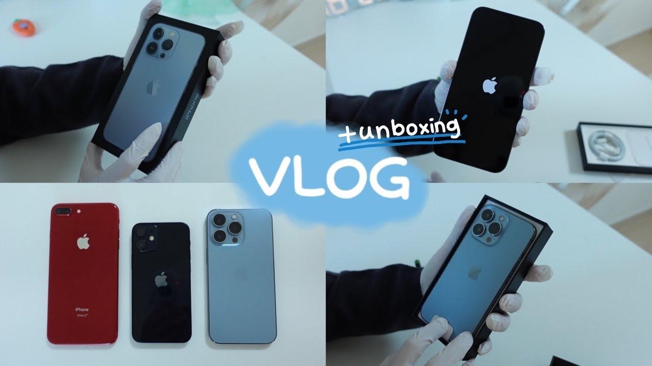 eng) 앱등이 브이로그   아이폰13 프로 시에라 블루 언빡싱, 아이폰12 미니와 아이폰8+와 비교📱