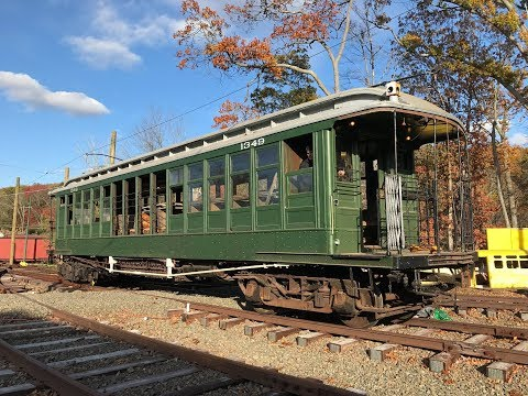 Shore Line Trolley Museum HD 60fps: Brooklyn Union Elevated Gate Car 1349 Moving in The Yard
