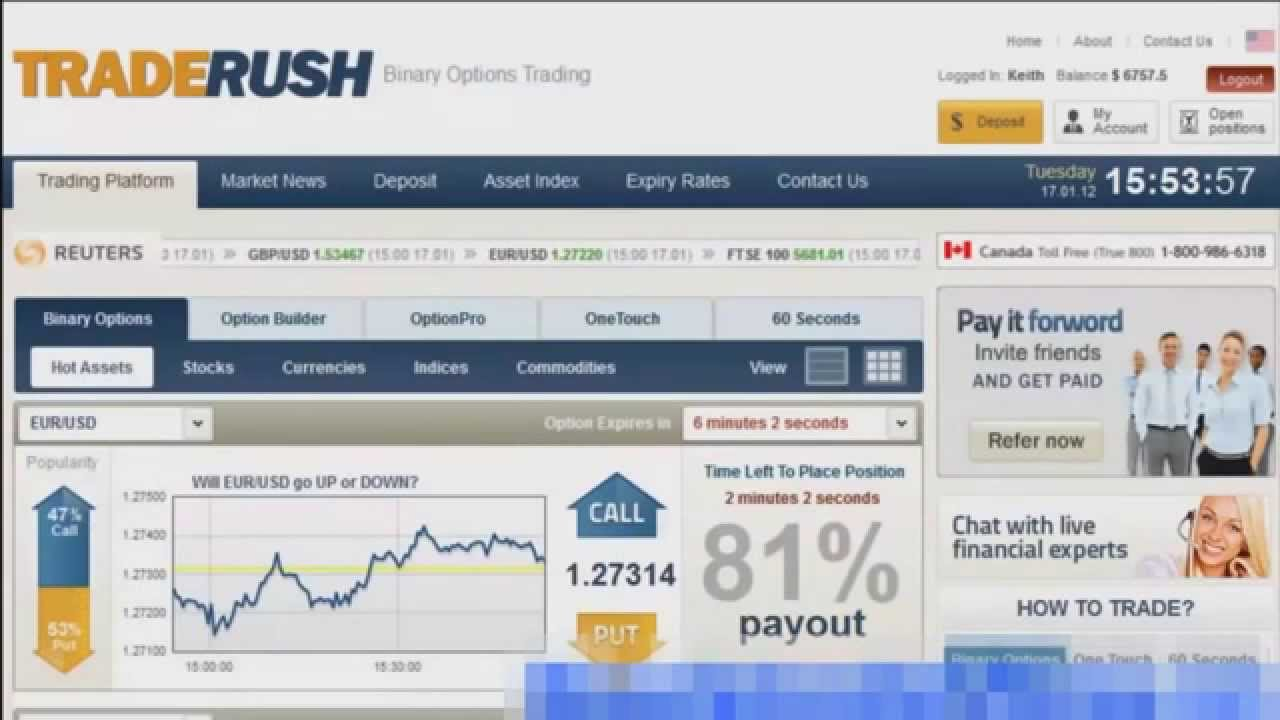 60 Second Binary Options Strategy: the complete guide 89, views. Share; Like; 60 Second Binary Options Strategy: the complete guide TRADERUSH First Broker to offer 60 Seconds Minimum Deposit $ Trade for as little as $10/Order 24/5 Customer Service Click Here To Open an Account With TradeRush 24OPTION Large Easy to .