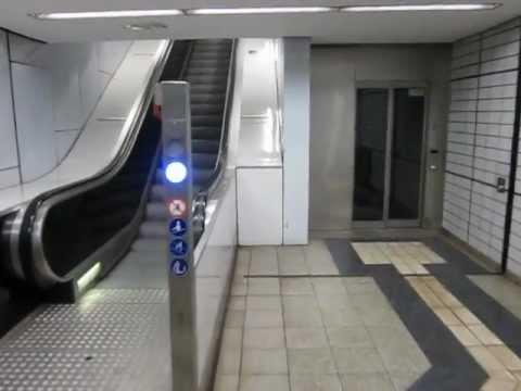 Hütter diagonal traction glass elevator at Messehallen subway station in Hamburg