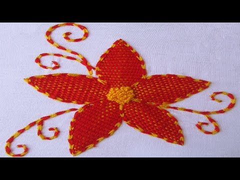 Hand Embroidery Designs | Burden Stitch With French Knot | Flower Embroidery Designs - 01