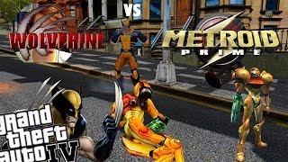 GTA IV Metroid Prime Samus Mod + Wolverine Mod - Sexy Robot vs Wolverine