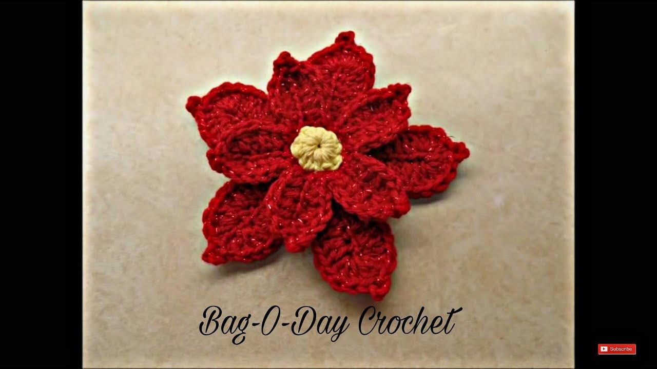 Crochet How To Crochet Poinsettia Christmas Flower Tutorial 353