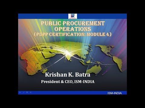 Webinar on Public Procurement Operations : PDPP Certification Module 4