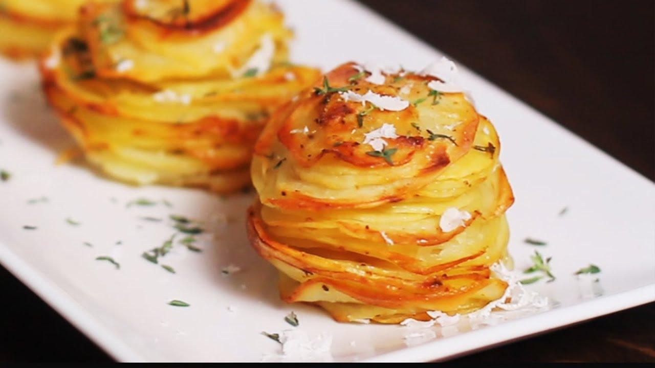 parmesan potato stacks recipe youtube. Black Bedroom Furniture Sets. Home Design Ideas