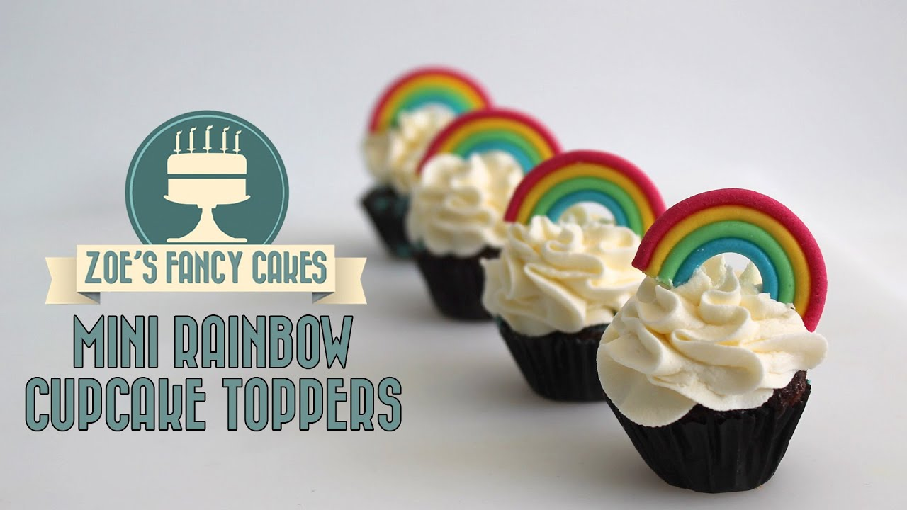 Cake Designs Using Cupcakes - Rainbow cupcakes how to make mini rainbow models using fondant youtube