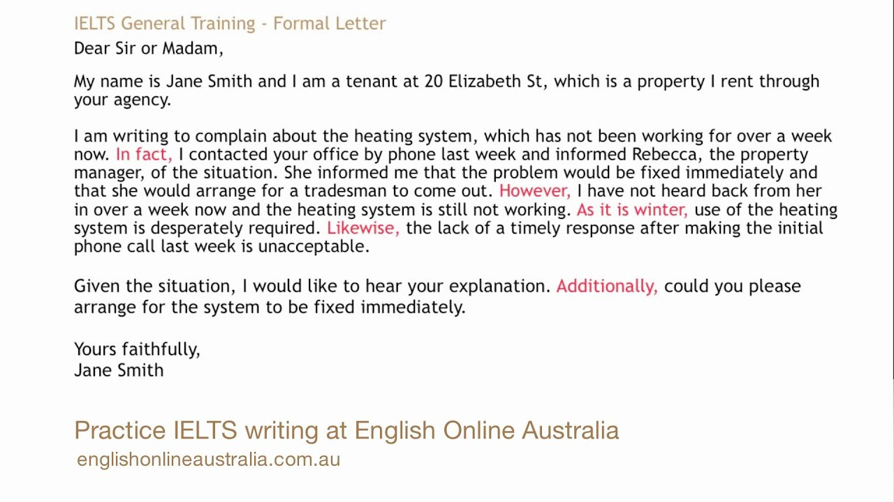 Ielts Writing Lesson 1 General Task 1 Formal Letter Youtube