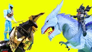 Power Rangers Charged Up Action Figure Pack With Legacy Dragonzord Vs. Animal Planet Ice Dragon