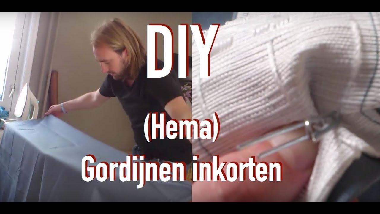DIY Hema (kant en klaar) gordijnen inkorten - YouTube
