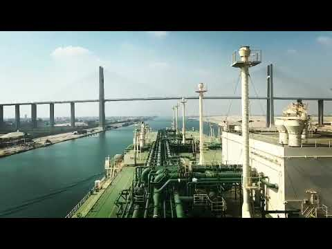 Suez Canal Transit. Navigation of highest degree. Time-lapse mode.