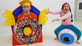 Funny Kid and Cookie man play house bought Donut
