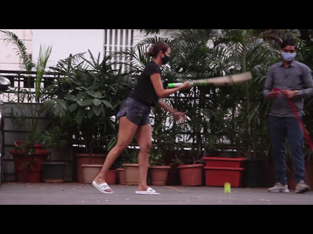 Malaika Arora Snapped Playing Cricket With Son Arhaan Khan At Her Residence