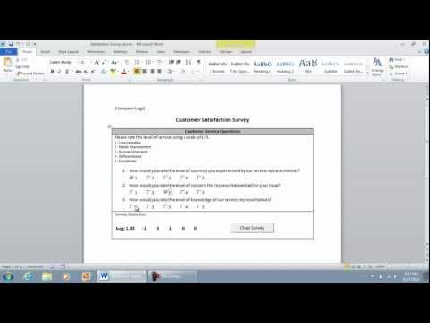 Functional Checklist Survey in Microsoft Word 2010 (part 1 of 9) - Demonstration