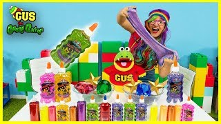 Making Super Slime Art Challenge!!! Learn Colors with Gus the Gummy Gator !
