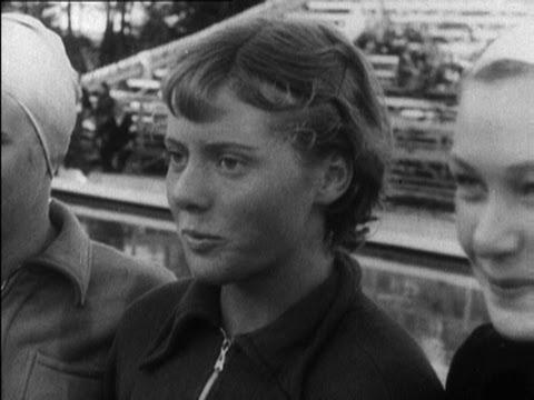 15 Year Old Joan Harrison Wins 100m Backstroke Gold - Helsinki 1952 Olympics