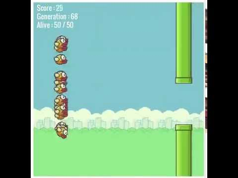 Flappy Bird - Mashine Learning - Over 2000000 Points After 86 Generations