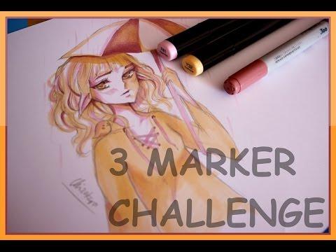 3 MARKER CHALLENGE! (•̀o•́)ง   Chizakura Art - YouTube