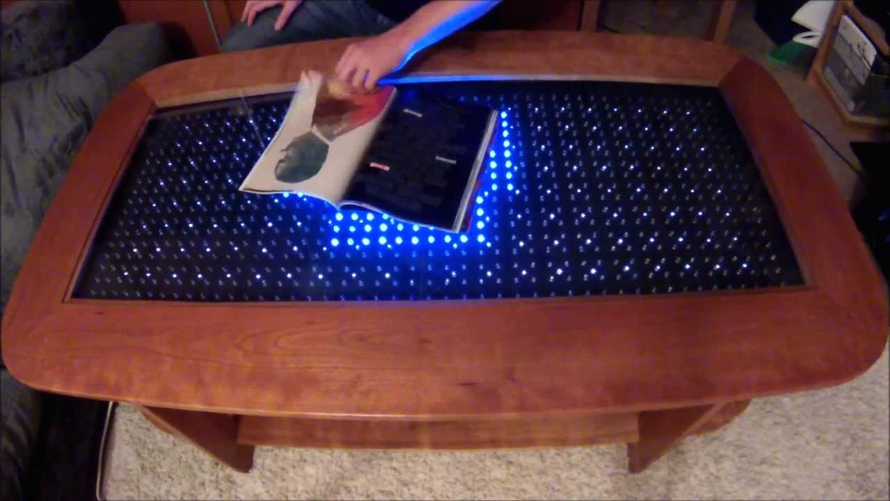 Reactive led coffee table arduino 2 youtube Led coffee table