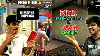 FREE FIRE || TSG RITIK PLAYED WITH TSG JASH MOBILE || SOLO VS SQUAD CHALLENGE GONE WRONG - TSG