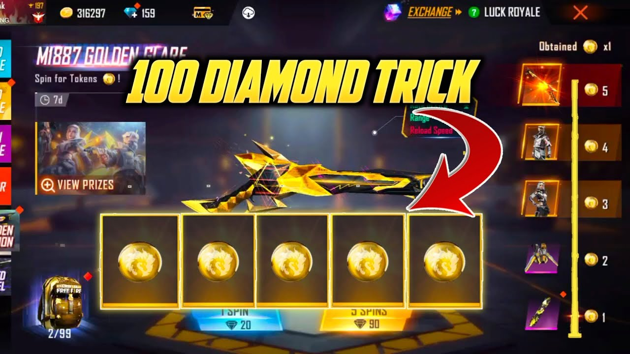 Free Fire New Golden Glare M1887 Event   New Golden Ascension Event   New M1887 Token Tower