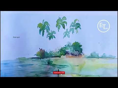 Watercolor Landscape Painting Tutorial speed painting