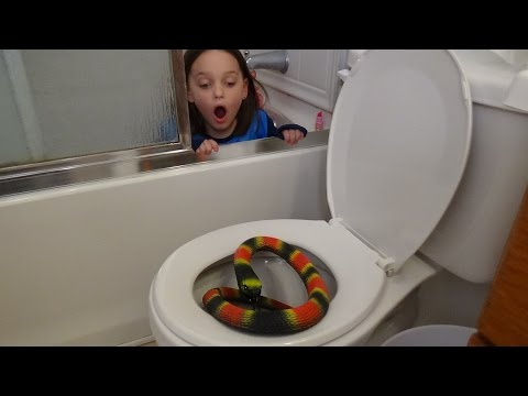 "Giant Snake In Toilet vs Plunger Girl ""Victoria Saves Annabelle From Bite"" Toy Freaks Attack"