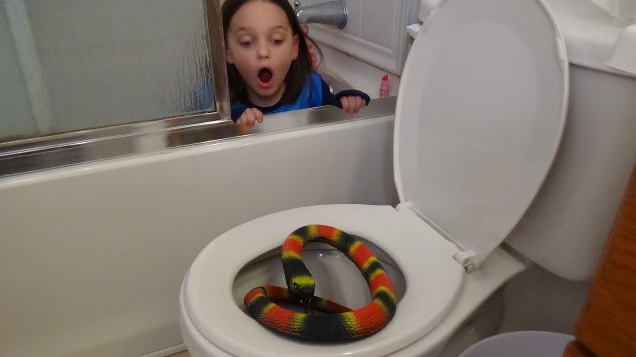 giant snake in toilet vs plunger girl victoria saves annabelle from bit. Black Bedroom Furniture Sets. Home Design Ideas