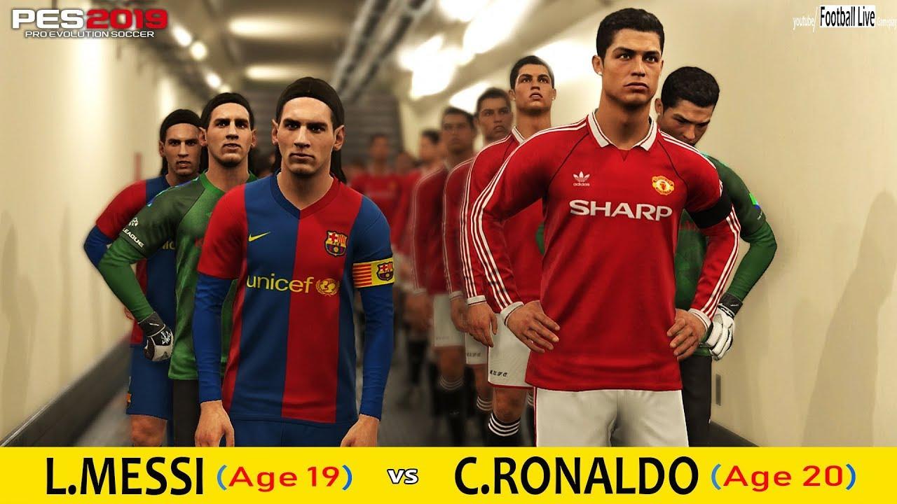 PES 2019 Experiment | Young C RONALDO vs Young L MESSI | Team Messi vs Team  Ronaldo