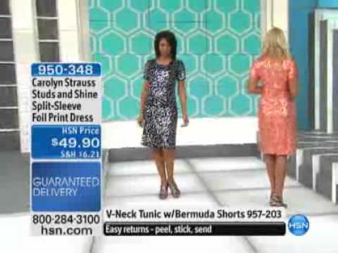 Carolyn Strauss Studs and Shine Split-Sleeve Foil Print Dress at HSN.com.flv. http://bit.ly/2Yb8h6Y
