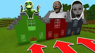 Minecraft PE: DO NOT CHOOSE THE WRONG HOUSE (Granny, Momo, & Dame Tu Cosita)