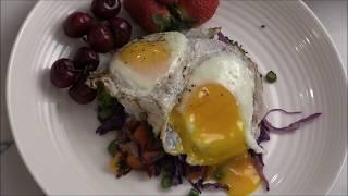 Breakfast Stir-Fry Vegetables Over Fried Eggs