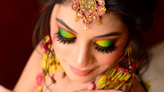 A Blast of Colour for this stunning Mehndi look ! Makeup by Parul Garg