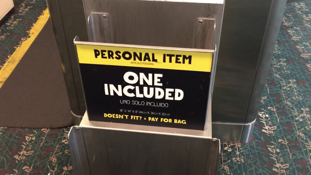 Spirit Airlines Free Personal Item Size Comparison 2018