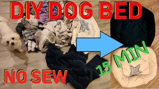 How To DIY Easy Cheap Dog Bed No Sew in 15 min
