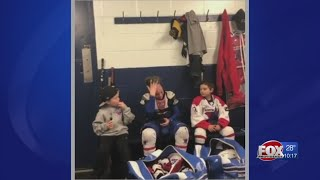 Boy's touching speech to youth hockey team goes viral