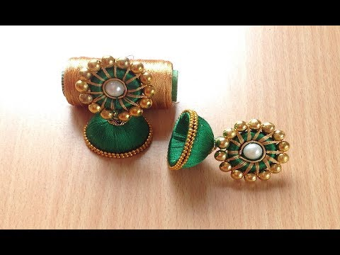Handmade Silk thread Jhumka earrings with silk thread studs (Without using paper)