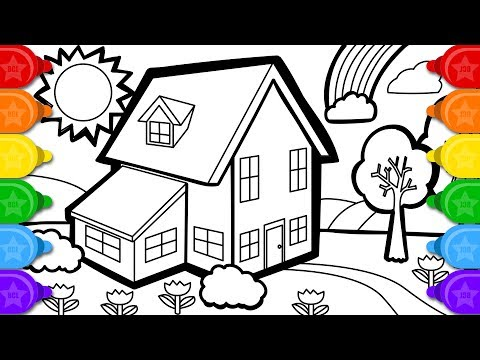coloring country house colouring page drawing and how to color for kids