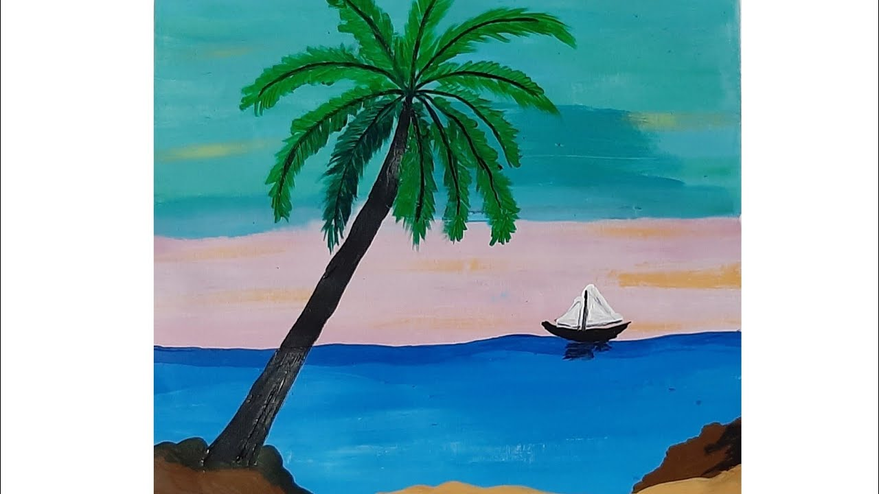Easy acrylic painting tutorial for beginners    Seascape ...