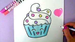 draw drawing easy cupcake step super kawaii drawings things