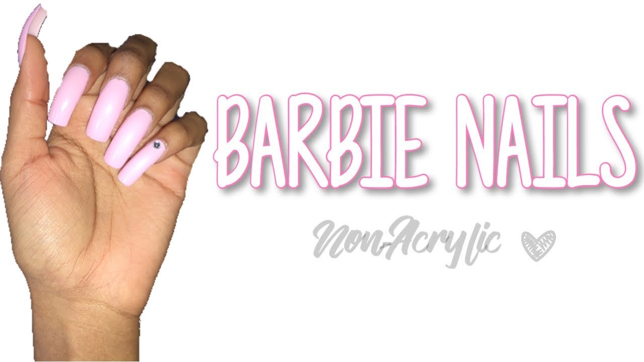 Non-Acrylic Long Pink Square Nails 💅🏽 - YouTube