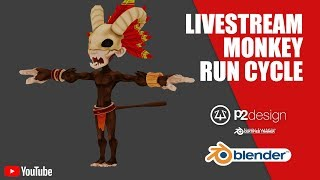 Livestream Monkey Character - quadruped run cycle animation in Blender
