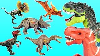 Dinosaurs Collection T-rex Triceratops Pteranodon + Walking Dino Toys For Kids