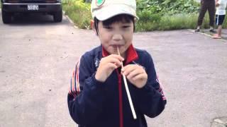 田植え前に、みんなでたんぽぽ笛を。