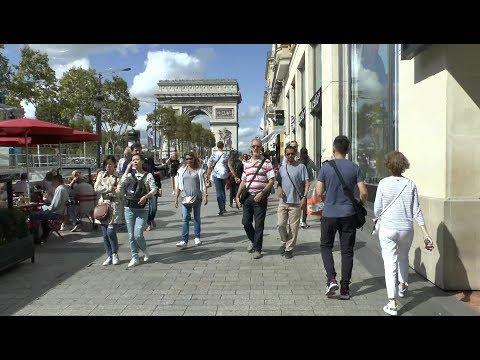 Walk around Paris France.  Bastille - Rivoli - Louvre - Arc de Triomphe.