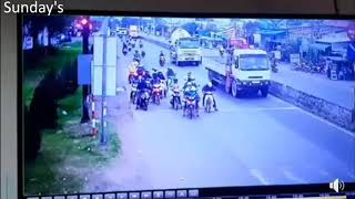 traffic in viet nam. accident traffic at the Long An, viet nam