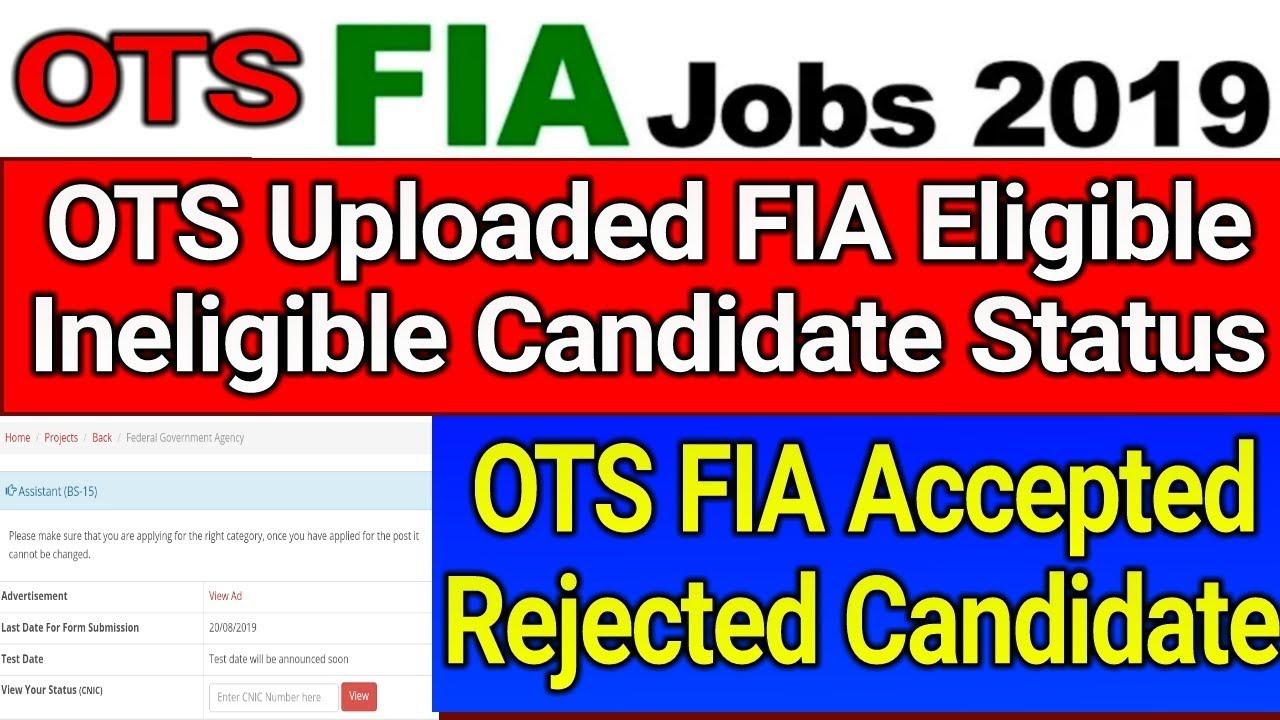 OTS Uploaded FIA Eligible Ineligible Candidate Status OTS Website