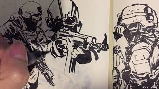 15 IDEAS TO FILL YOUR SKETCH BOOK: Part 2 Soldiers military operators