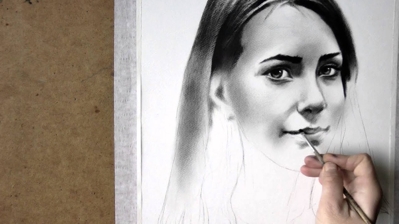 Black and white realistic speed drawing of woman portrait in dry brush